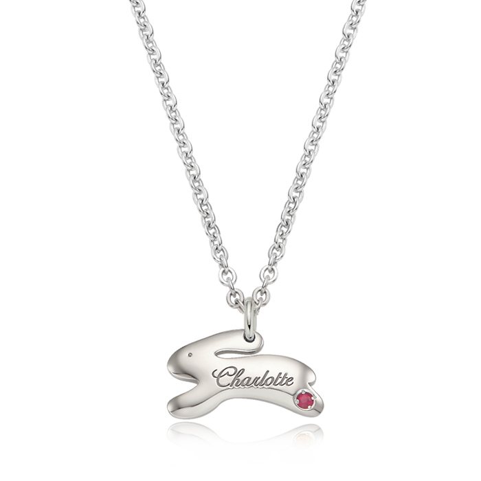 Hopping Rabbit Birthstone Silver Necklace/ Lost Child Prevention Necklace