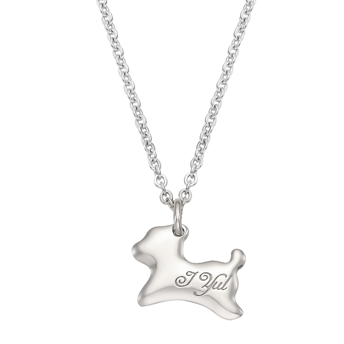 Alvin Puppy Birthstone Silver Necklace/ Lost Child Prevention Necklace