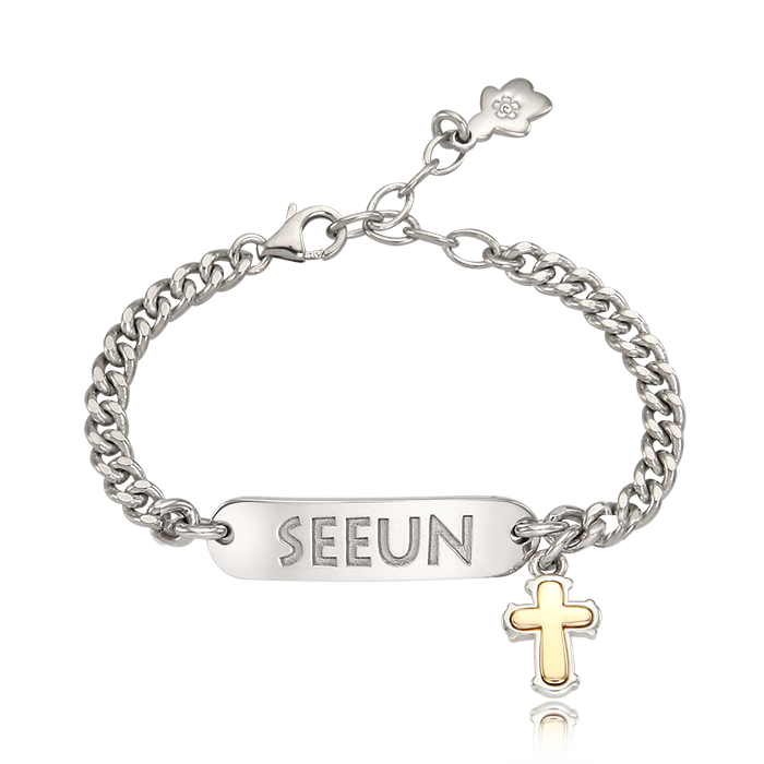JEWELRY KAIU SIMPLE Kaiu Silver Stick Name Lost Child Prevention Bracelet- A-Type [ 5K Gold Cross Charm ]