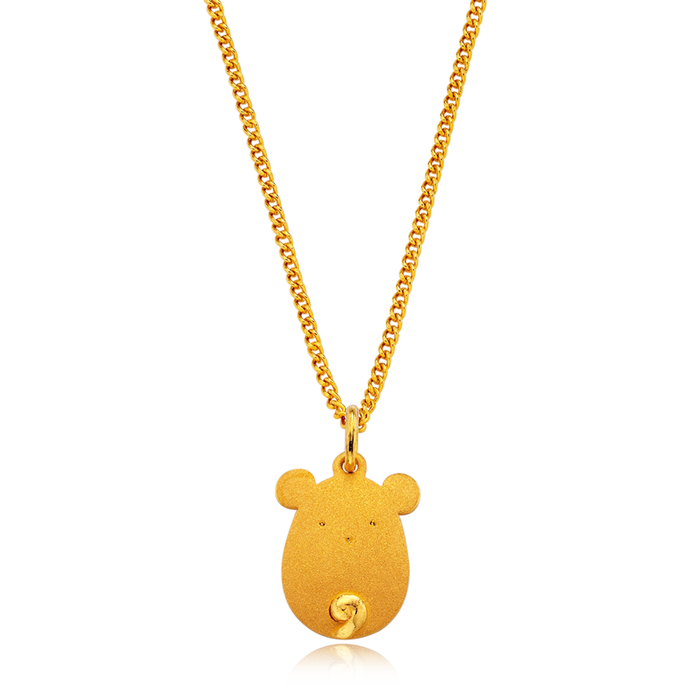 24K Pure gold baby  Oriental Zodiac Rat Necklace