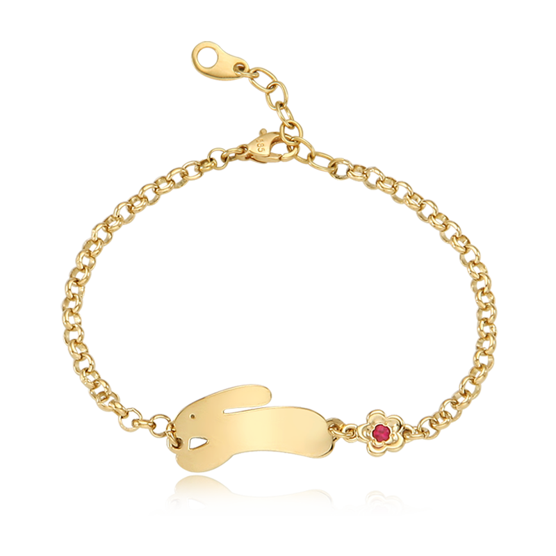 14K / 18K Gold Rabbit Running Birthstone Flower Bracelet
