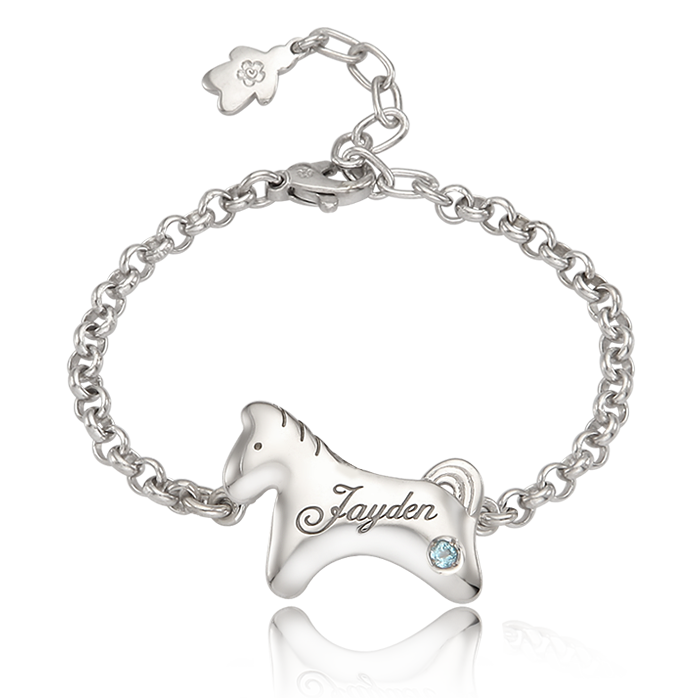 Silver Simple Horse Baby Bracelet