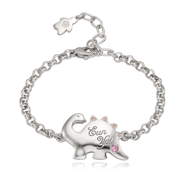 Silver Dinosaur Pink Cubic Anti-lost Bracelet
