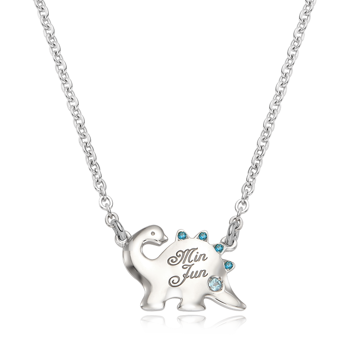 Dinosaur Birthstone Silver Necklace(Blue Cubic)/ Lost Child Prevention Necklace
