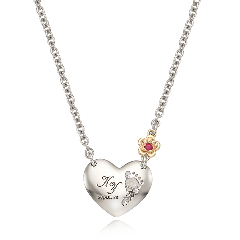 My Baby Foot Painted Heart -5k Gold Flower, Baby Silver Birthstone Necklace