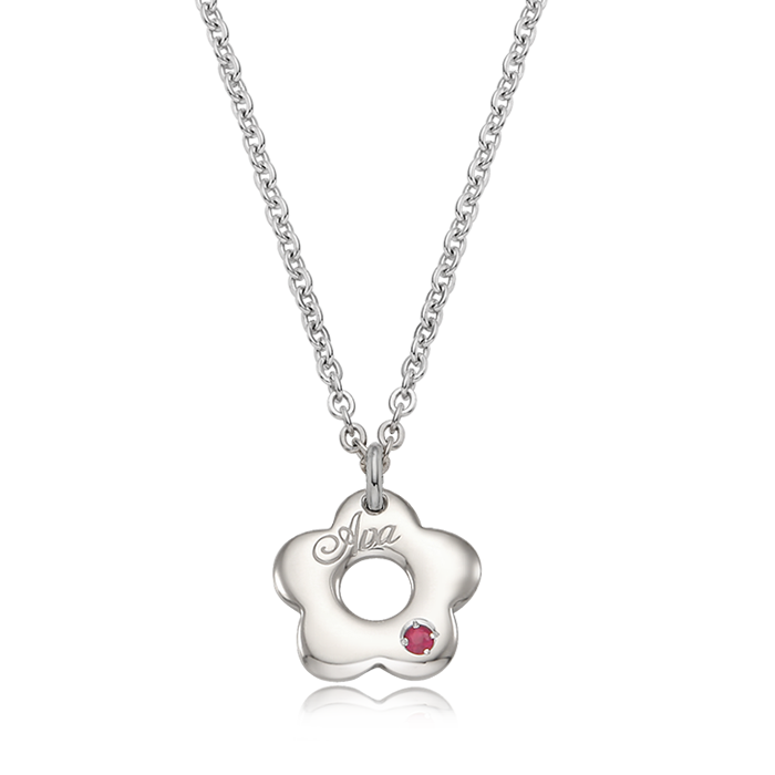 Donut Flower Birthstone Silver Necklace/ Lost Child Prevention Necklace