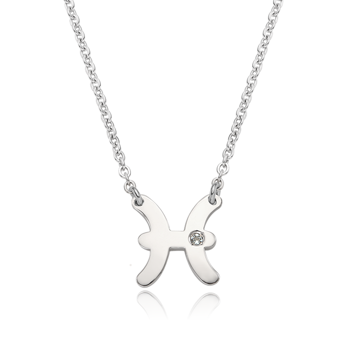 Silver Pisces (February 19 ~ March 20) Zodiac Sign Necklace