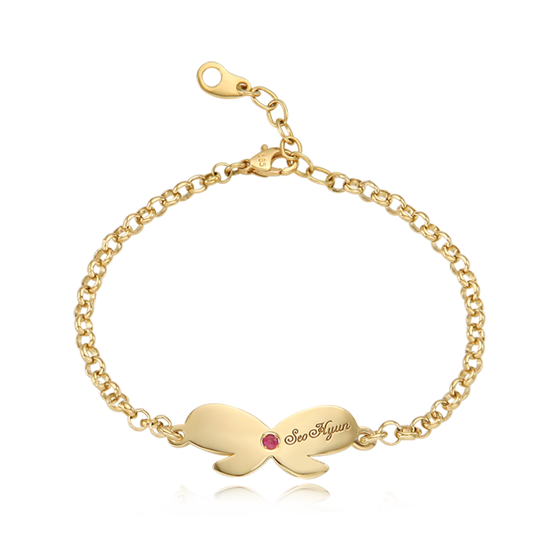 14K / 18K Gold Birthstone Ribbon Bracelet