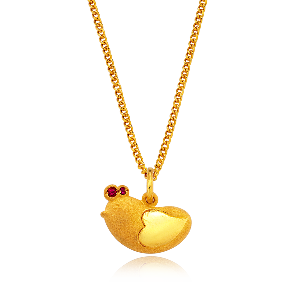 24K Pure gold baby  Oriental Zodiac Rooster Necklace