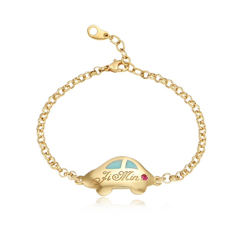 14K / 18K Gold Andy Car Blue Baby Bracelet