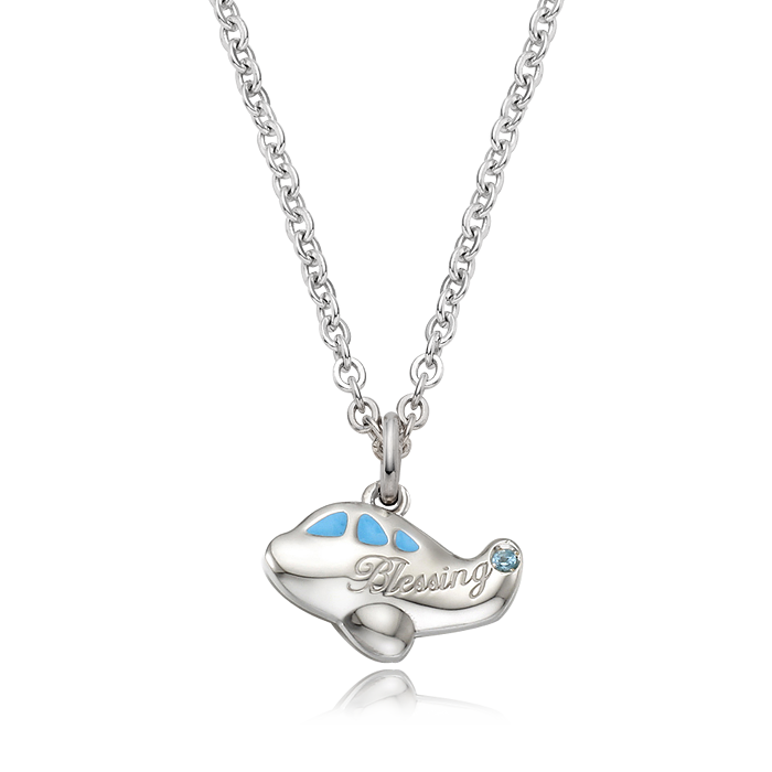Airplane Birthstone Silver Necklace(Blue)/ Lost Child Prevention Necklace