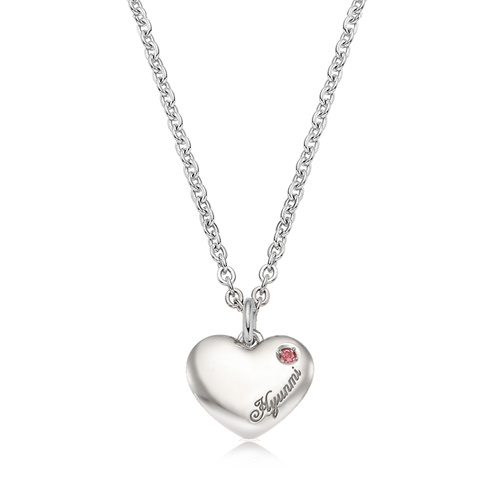 Kaiu Simple Heart Silver Birthstone Necklace