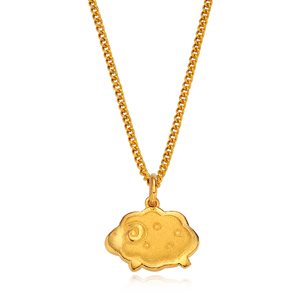 24K Pure gold baby  Oriental Zodiac Sheep Necklace