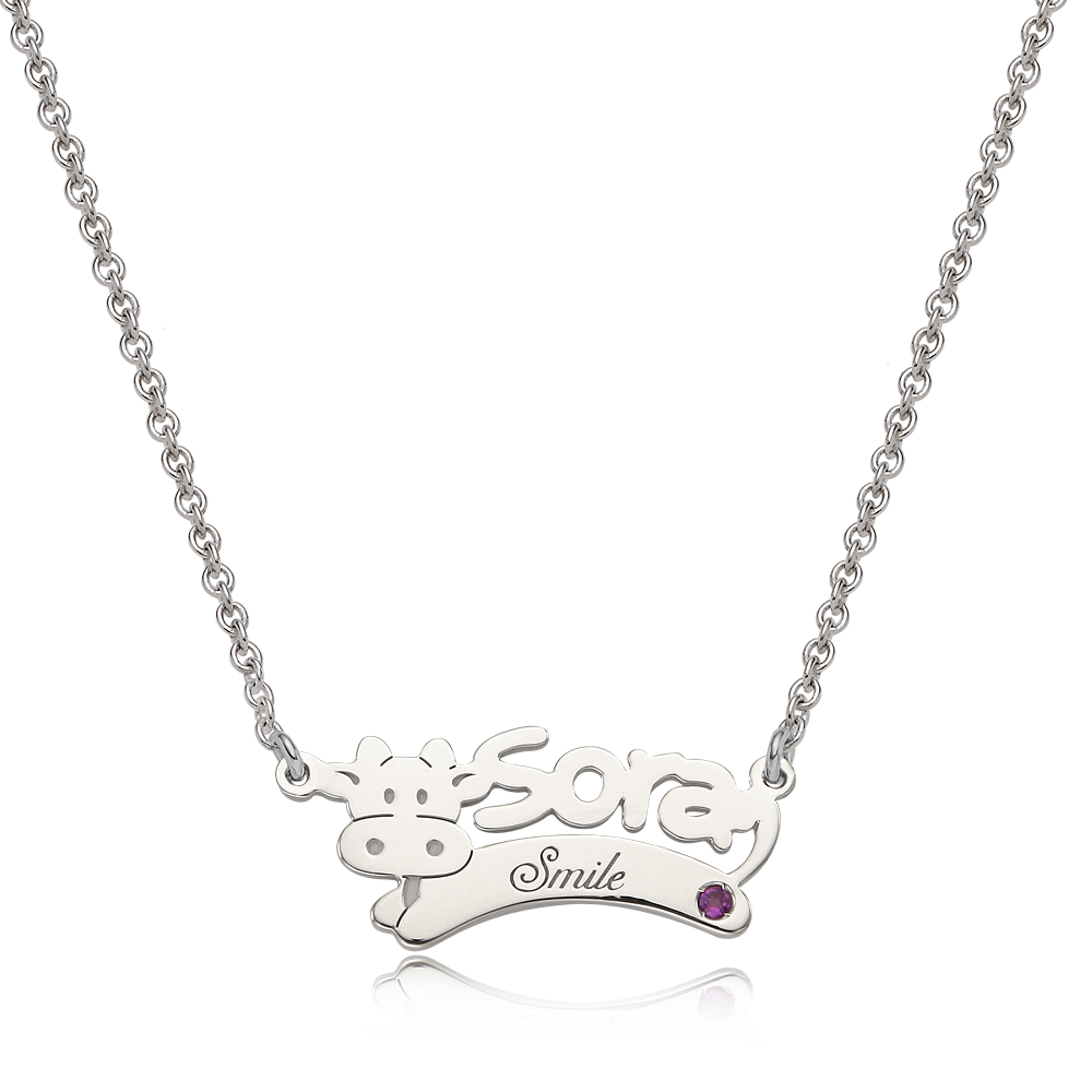 Oriental Zodiac Ox  Sterling Silver Name Necklace