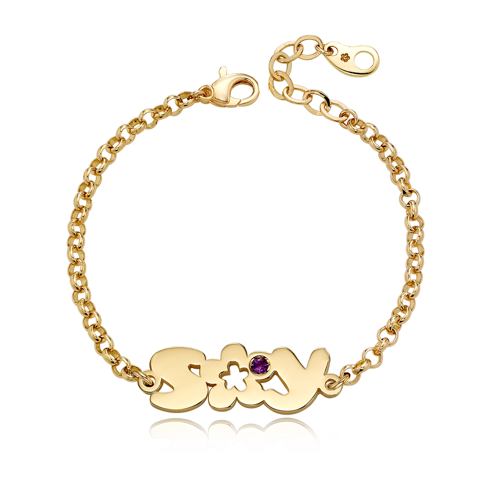 14K / 18K Gold BO1-Two Initial Flower Birthstone Bracelet(3.0mmRolo Chain)