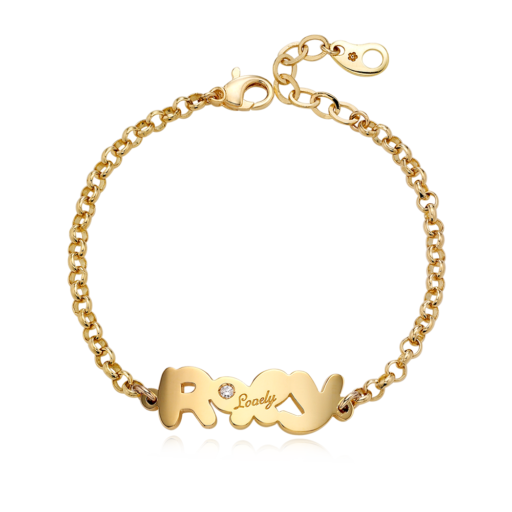 14K / 18K Gold B01 double letter engraved birthstone bracelet with two letters(3.0mmRolo Chain)