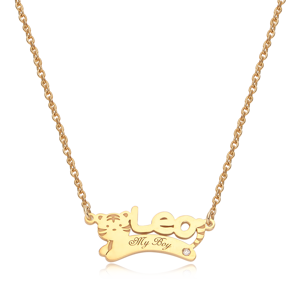 14K/18K Gold Oriental Zodiac Tiger Name Necklace