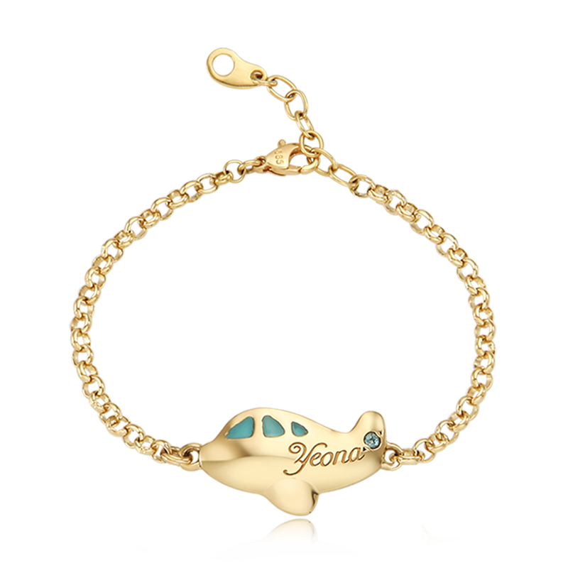 14K / 18K Gold  Kid Airplane Blue Baby Bracelet