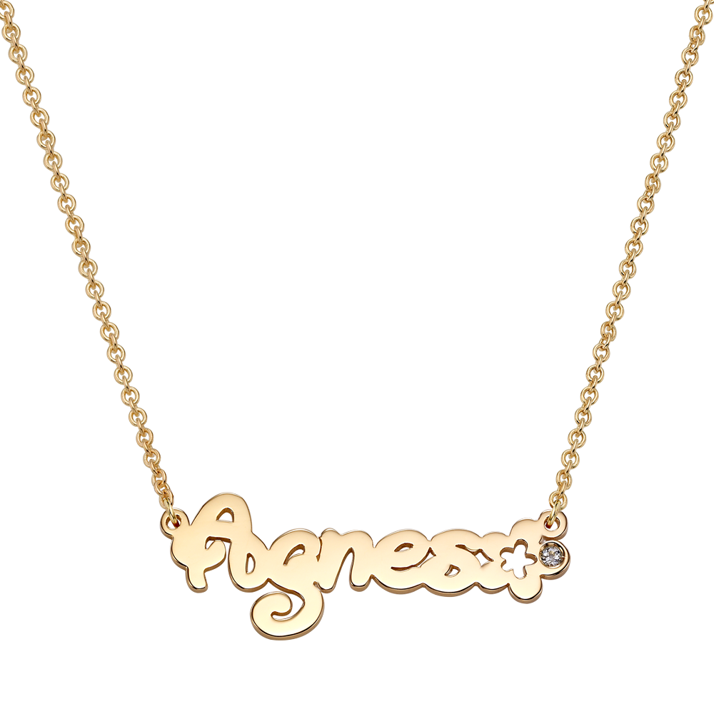 14K / 18K Gold Flora Flower Birthstone Name Necklace