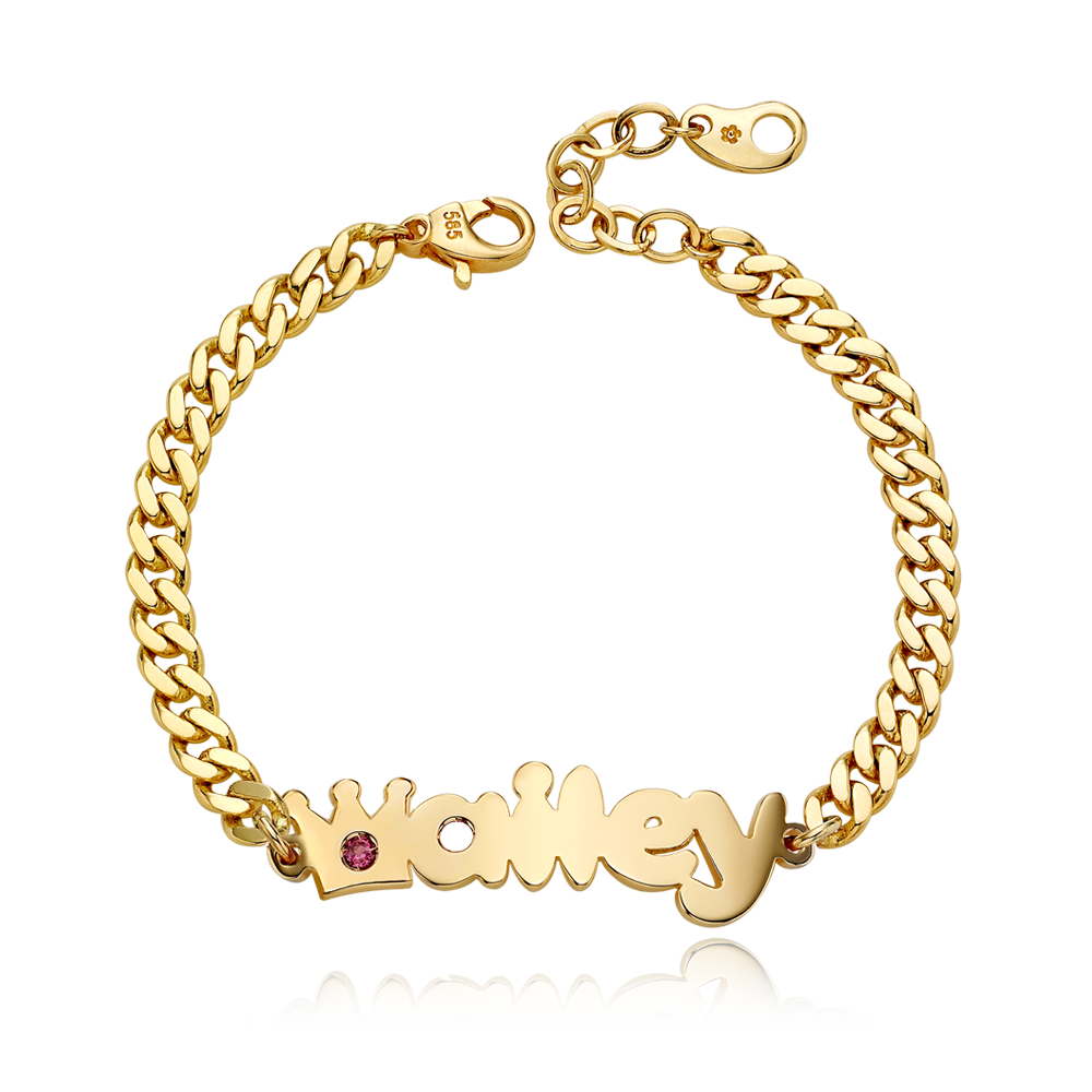 14K / 18K Gold Crown Birthstone B01 Name Bracelet-4.0mmCurb Chain