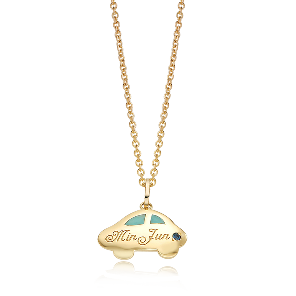 14K / 18K Gold Car Blue Necklace