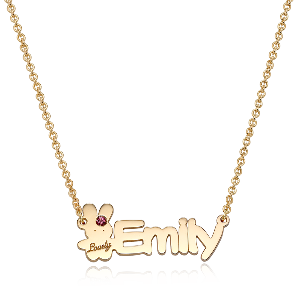 14K / 18K Gold Baby Rabbit Birthstone English Initial Necklace