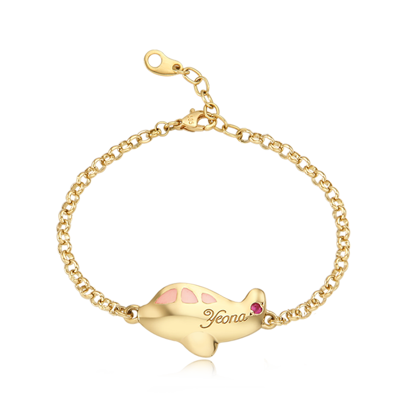 14K / 18K Gold Kid Airplane Pink Baby Bracelet