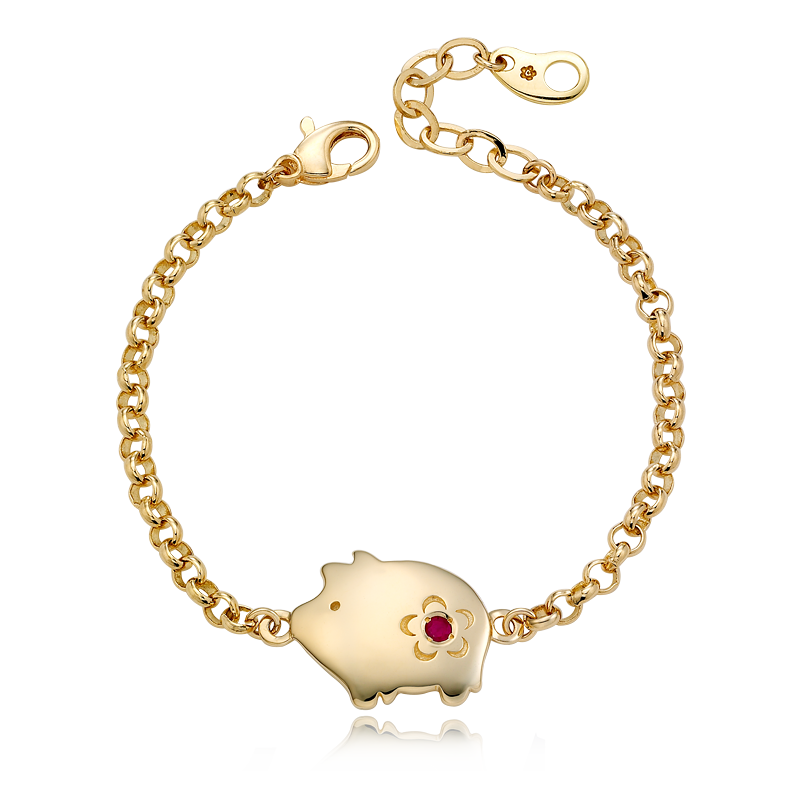 14K / 18K Gold Cookie Pig Birthstone Bracelet