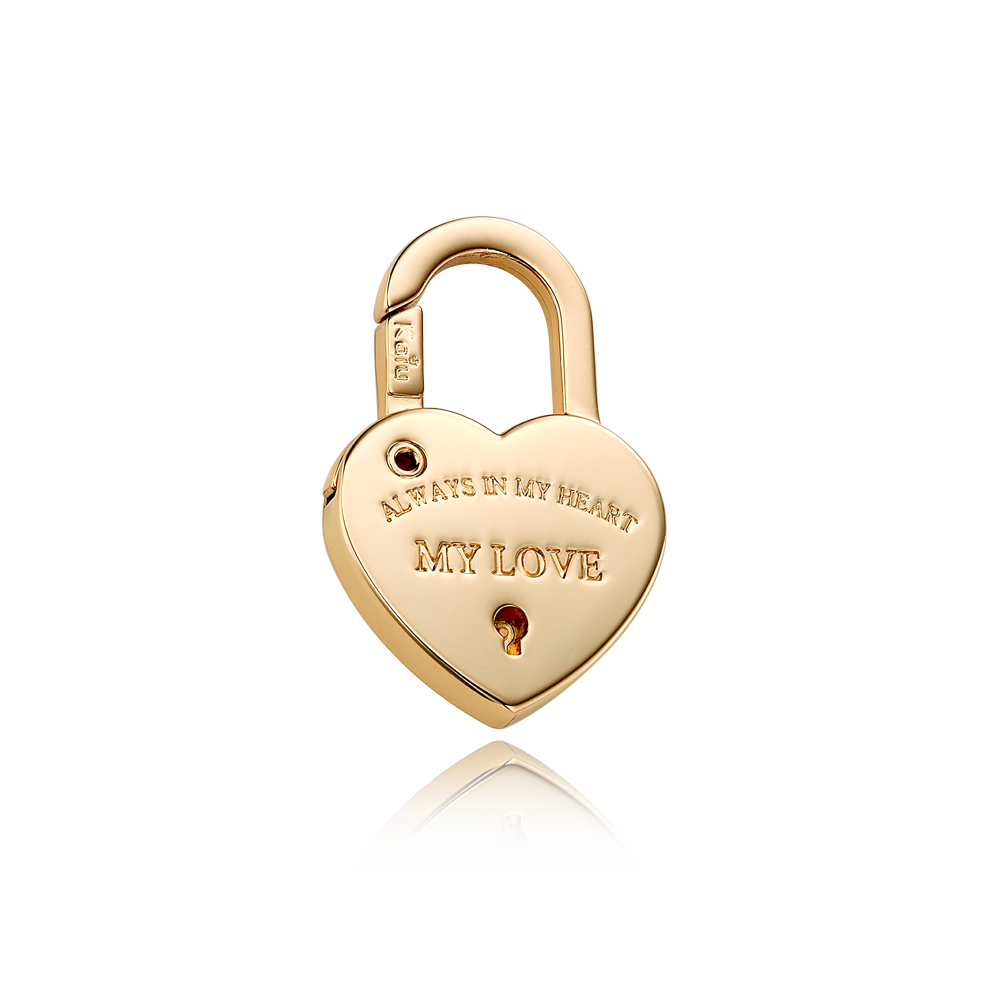 Dog Name Tag-Heart Lock Shape Pendant [Yellow Gold Color ]