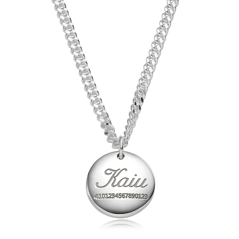 Pet ID Tags for Dog & Cat-Sterling Silver Modern Round(L)Cursive Necklace 4.0 Cable Chain [ Personalized Engraving ]