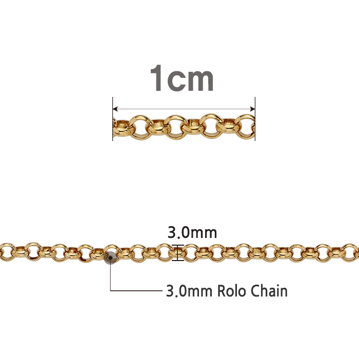 14K /18K 3.0 Rolo Chain Increased 1cm